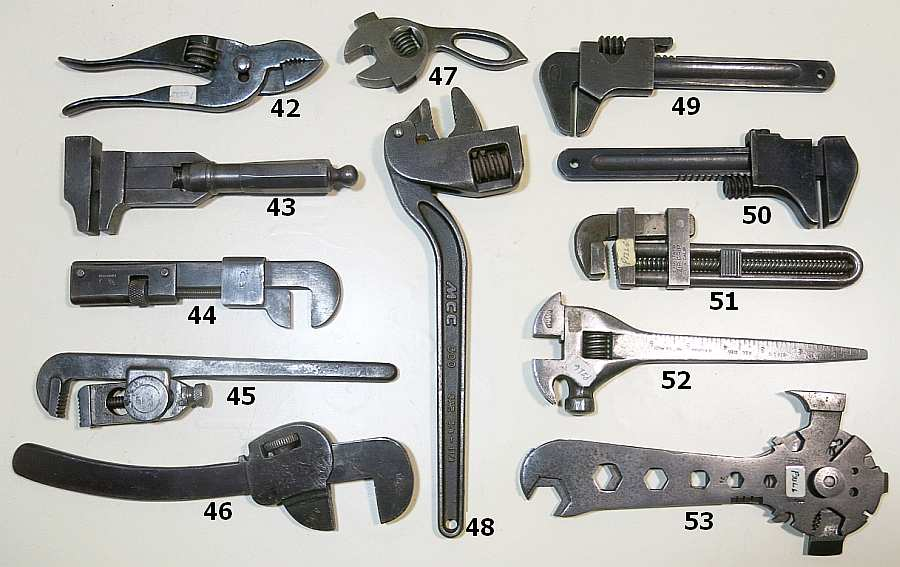 8 and One Marked Germany Oswego Tool Co. Antique Tools Antique Wrenches. and 10 G.T.D Corp. 6 Stillson Type Pipe Wrenches