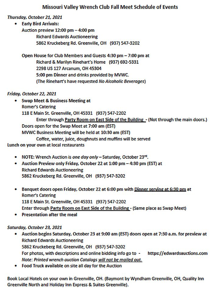 2021 Fall Wench Meet Schedule